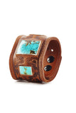 Cognac Warrior Leather Cuff with Turquoise