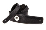 Wolf black leather guitar strap - The Raven Works