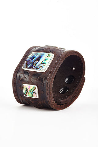 Warrior Brown Leather Cuff with Abalone