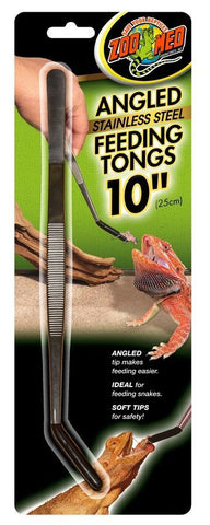 Zoo Med Angled Stainless Steel Feeding Tongs 10″