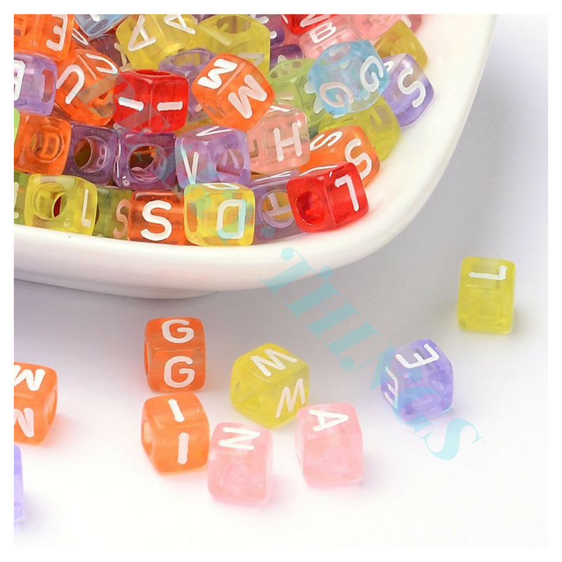 Acrylic Alphabet Beads, Mixed Letters, Cube Shape, Mixed Colour - pack of 20