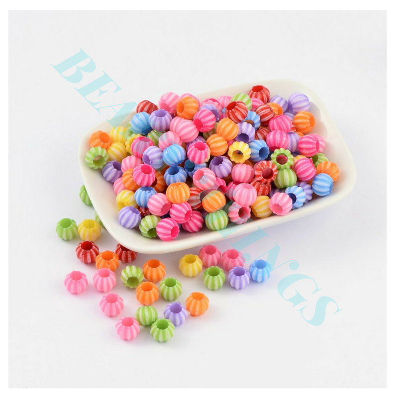 Colourful Acrylic Beads for Halloween, Pumpkin Shape, Mixed Colour - pack of 20