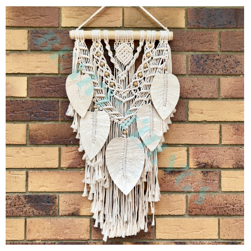 Small Macrame Beads and Feather Design