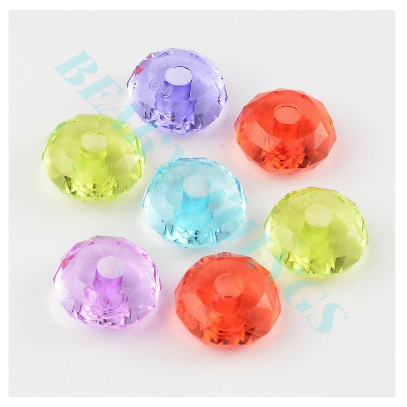 Transparent Acrylic Beads, Faceted, Rondelle, Mixed Colour - pack 5