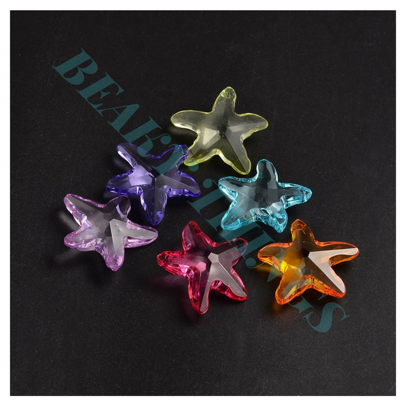 Transparent Acrylic Pendants, Faceted Starfish, Mixed Colour - pack 5
