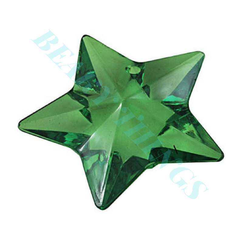 Transparent Acrylic Pendant Faceted Star, Green - single bead pendant