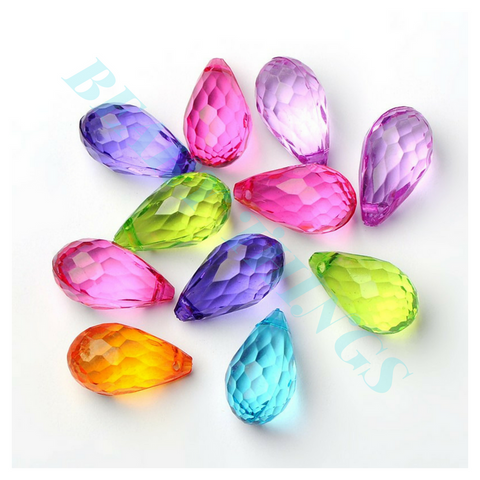 Transparent Acrylic Pendants, Faceted Drop, Mixed Colour - pack of 10