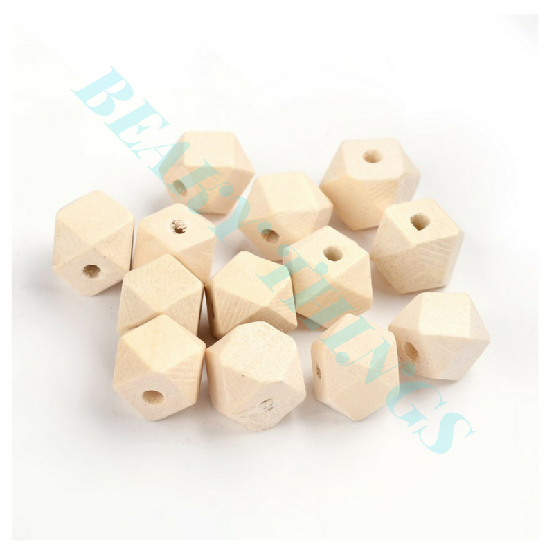 Unfinished Wood Faceted Polygon Beads, Lead-Free, Moccasin - pack 15