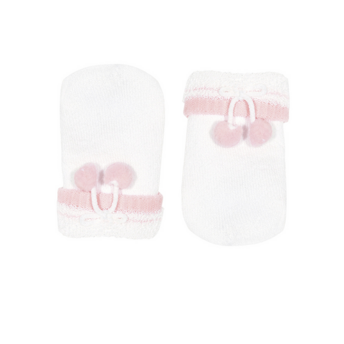 Terry Mittens - Pompoms - White/pink - Condor