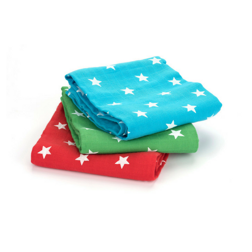 Star Muslins: Red, Green & Blue - 3 Pack