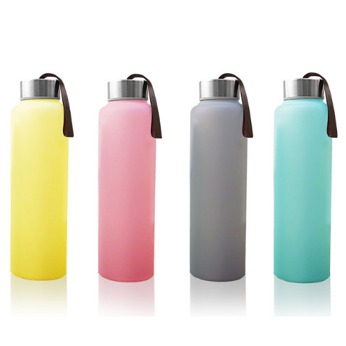 Glass Water Bottle 400ml - Silicone Coated