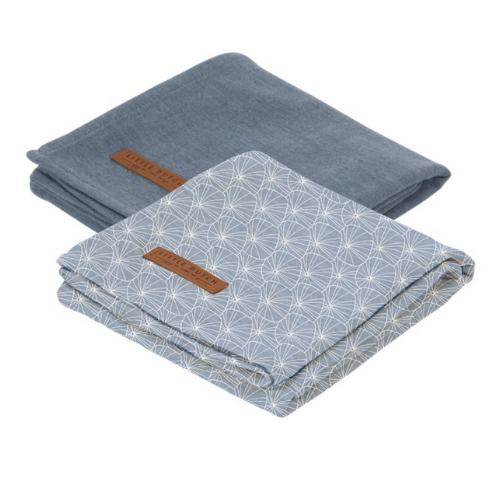 Muslin cloths 70 x 70 Lily Leaves Blue/Pure Blue (set of two)