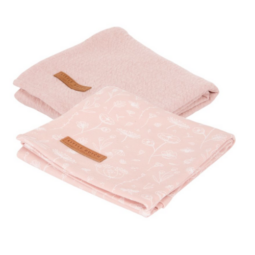 Muslin cloths 70 x 70 Wild Flowers Pink / Pure Pink (set of 2)