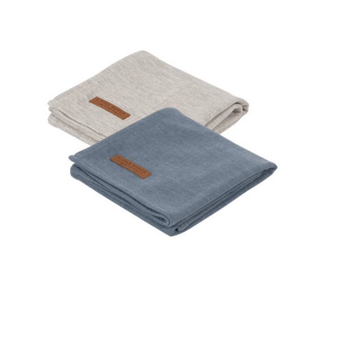 Muslin cloths 70 x 70 Pure blue/Grey (set of two) - LD