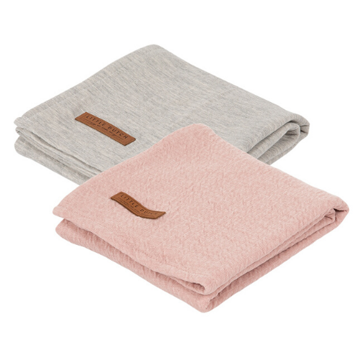 Muslin cloths 70 x 70 Pure Pink/Grey (set of two) - LD