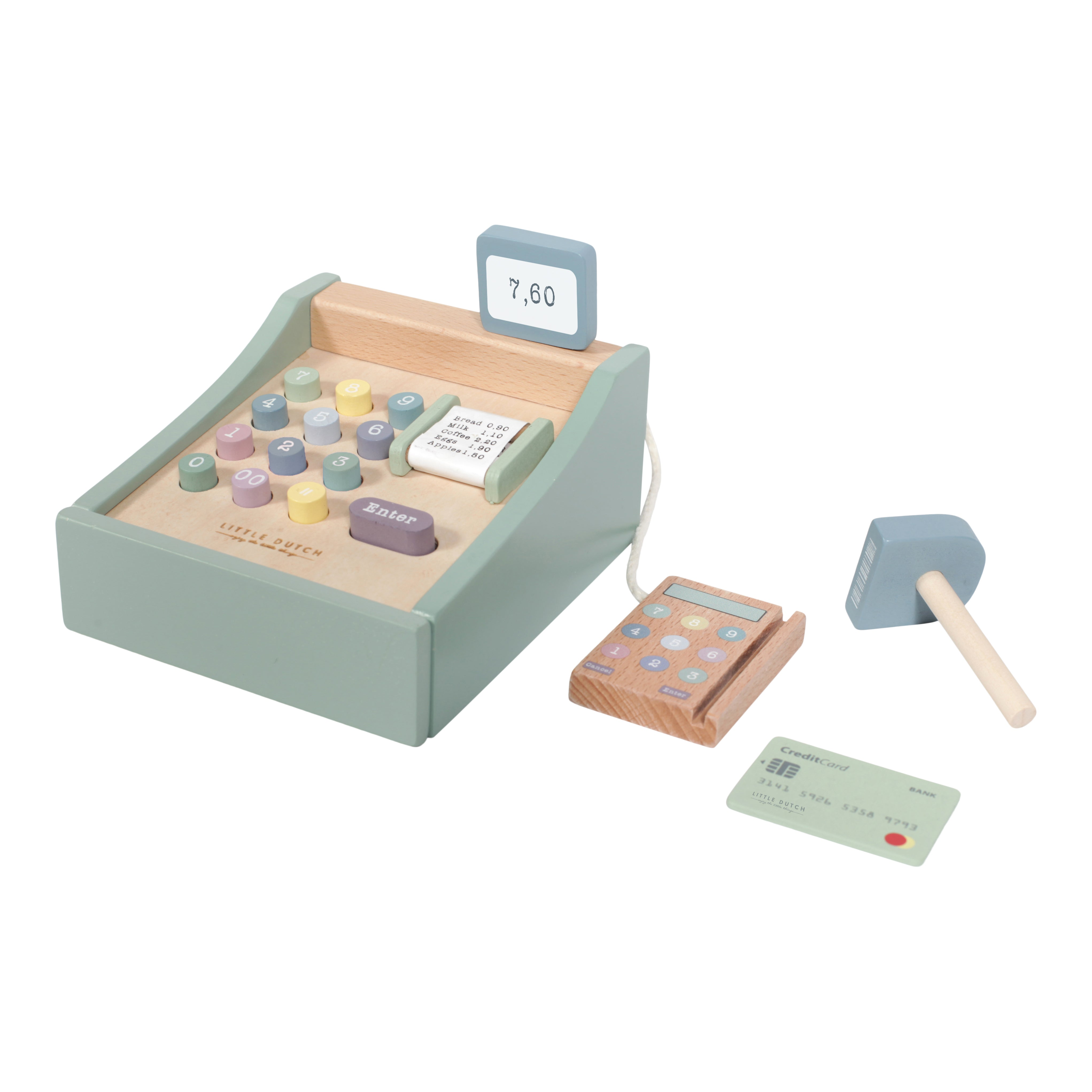 Wooden toy cash register with scanner - LD