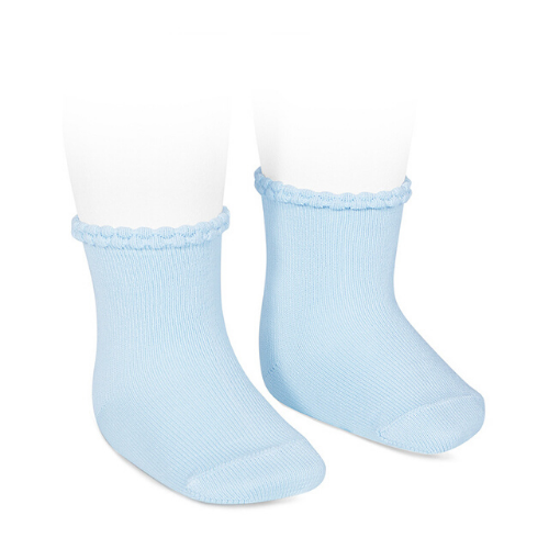 SHORT SOCKS WITH OPENWORKED CUFF BABY BLUE - Cóndor