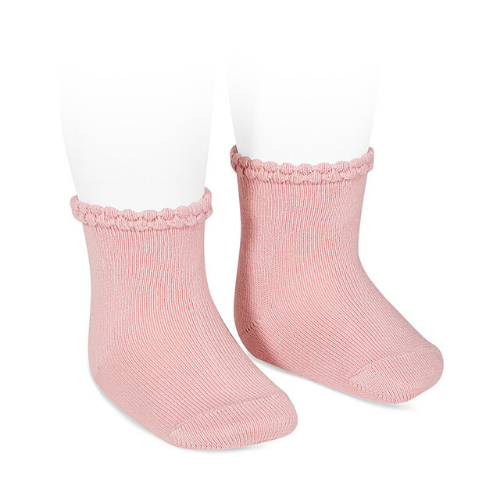 SHORT SOCKS WITH OPENWORKED CUFF PALE PINK - Cóndor