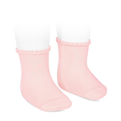 SHORT SOCKS WITH OPENWORKED CUFF PINK - Cóndor