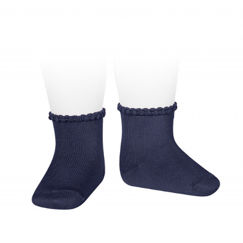 SHORT SOCKS WITH OPENWORKED CUFF NAVY BLUE - Cóndor
