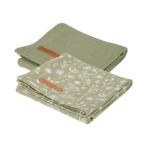 Muslin cloths 70 x 70 Wild Flower Olive / Pure Olive (set of 2)