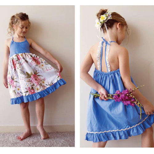 Monaco Dress - In reversible New Floral and blue - Gaia & Nina
