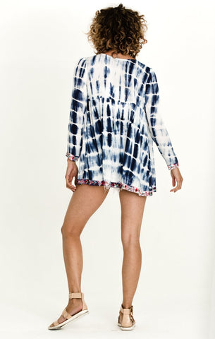CATCHING WAVES OPEN FRONT BLOUSE