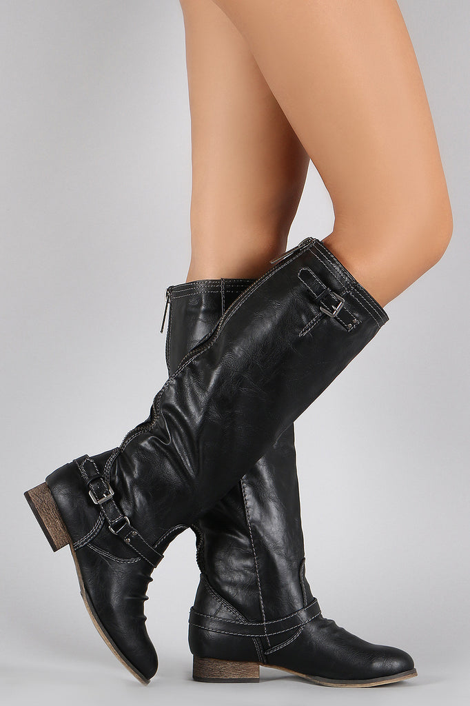 Breckelle Double Buckle Ruched Round Toe Riding Knee High Boot