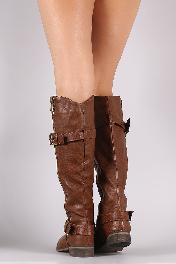 Zipper Buckle Riding Knee High Boot