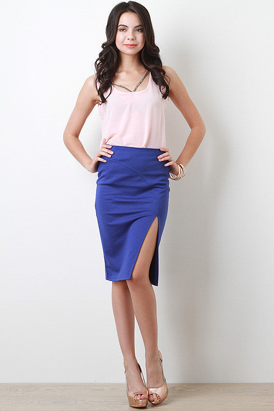 Solid Side Slit Skirt