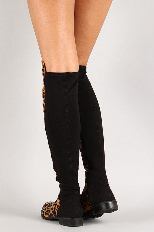 Leopard Round Toe Riding Thigh High Boot