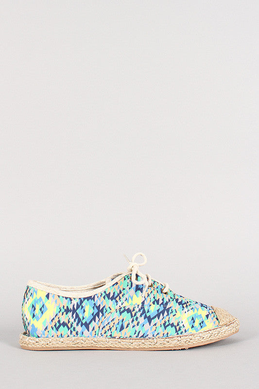 Qupid Tribal Lace Up Espadrille Flat