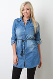 Tassel Waist Chambray Shirt Dress