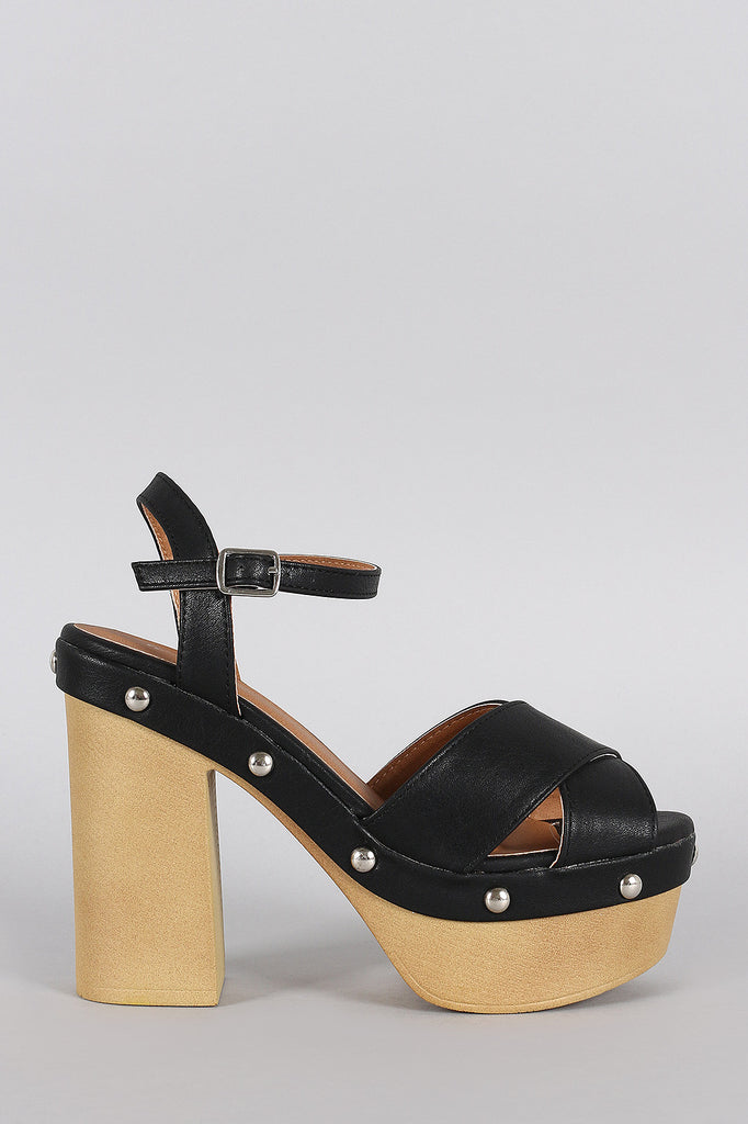 Qupid Studded Criss Cross Ankle Strap Chunky Platform Heel