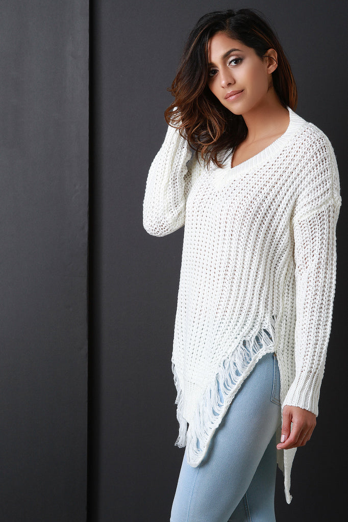 Distress Fray Knitted Sweater