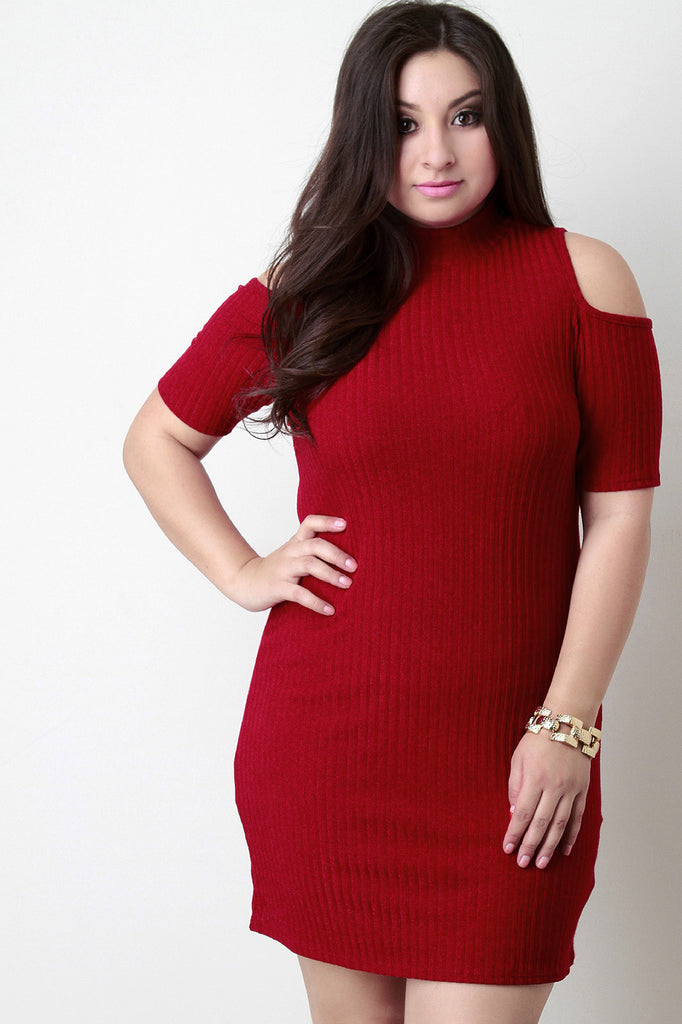 Open Shoulder Turtle Neck Dress