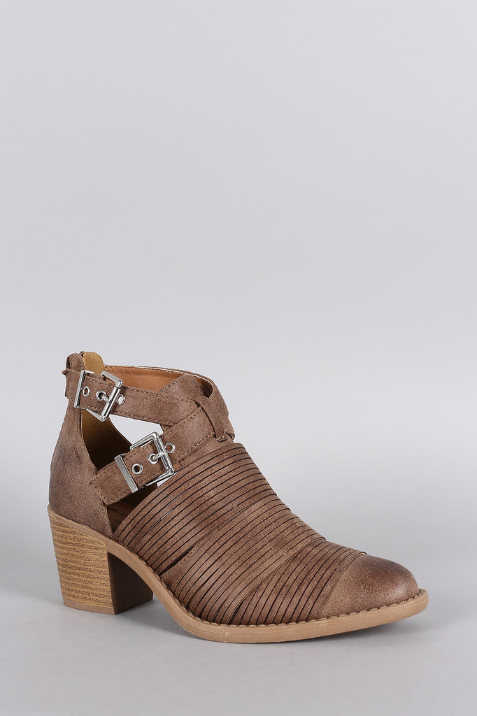 Qupid Slashed Crisscross Buckled Strap Chunky Heeled Ankle Boots