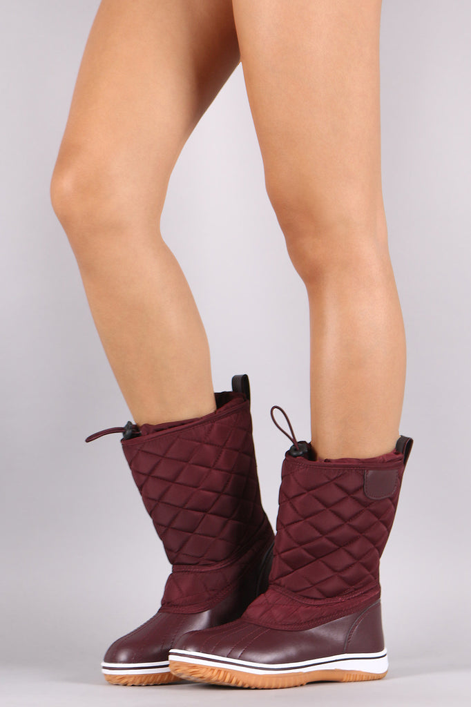 Drawstring Quilted Nylon Mid Calf Snow Boots