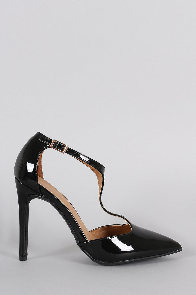 Patent Vegan Leather T-Strap Pointy Toe Pump