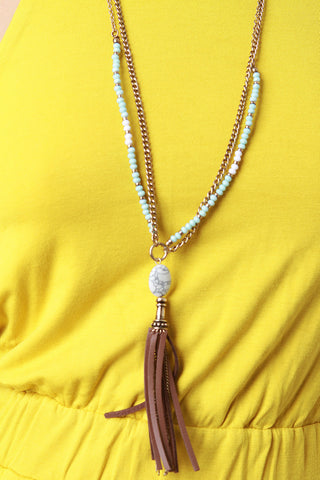 Marble And Leather Tassel Necklace