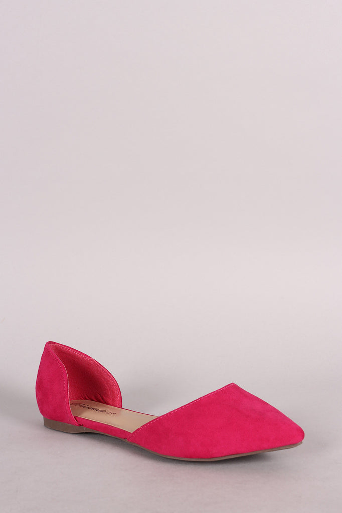 Breckelle Suede Pointy Toe Slip On Dorsay Flat