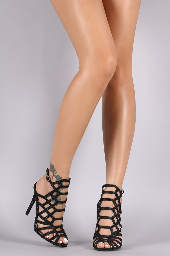 Qupid Glitter Caged Peep Toe Stiletto Heel