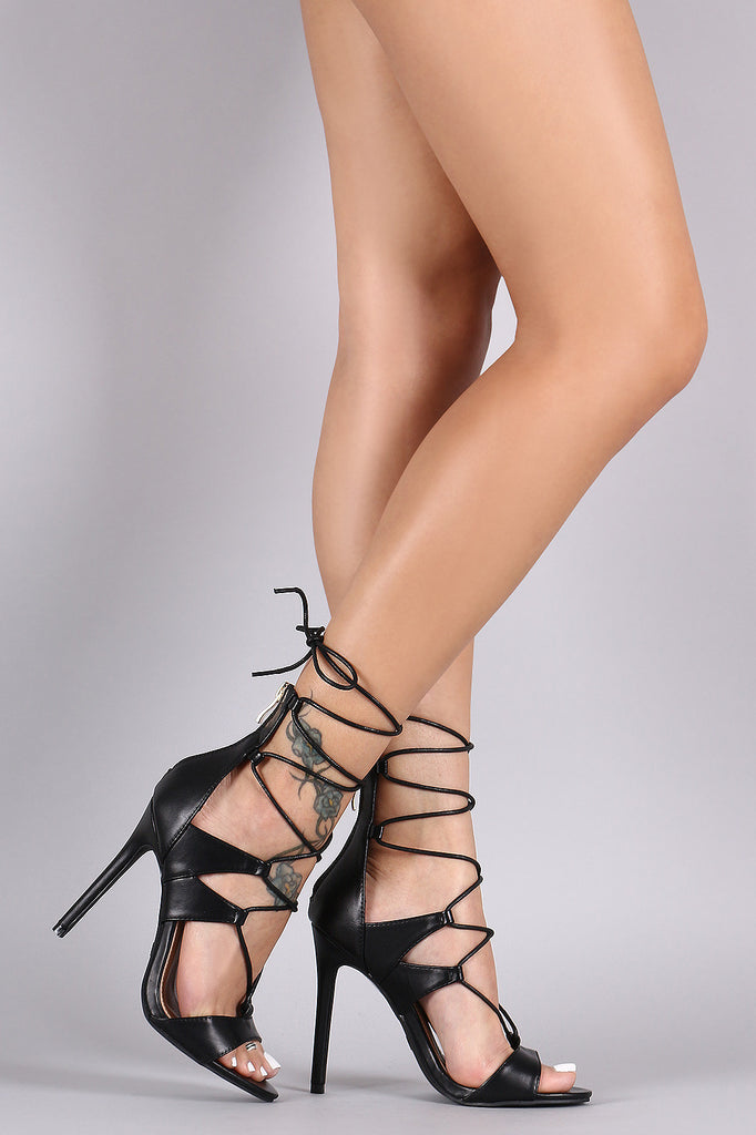 Open Toe Corset Lace Up Stiletto Heel
