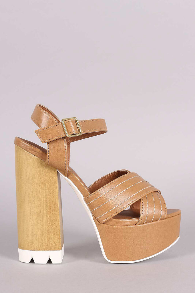 Qupid X-Band Ankle Strap Faux Wooden Platform Heel