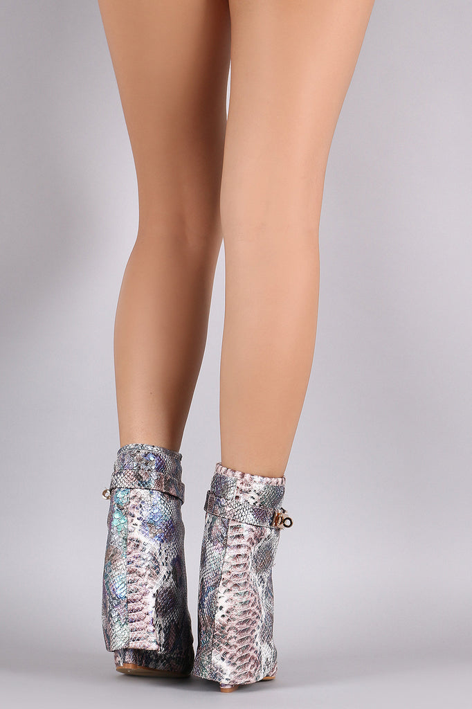 Snake Print Twist-Lock Fold Down Shaft Wedge Booties