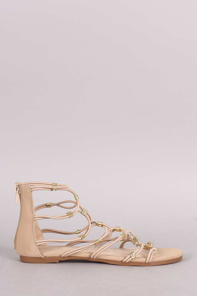 Bamboo Strappy Hardware Flat Sandal