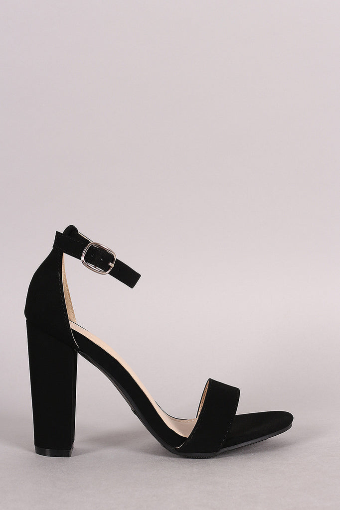 Bamboo Nubuck One Band Ankle Strap Heel