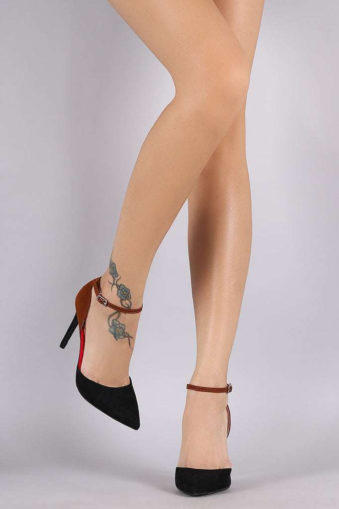 Anne Michelle Colorblock Pointy Toe Ankle Strap Pump