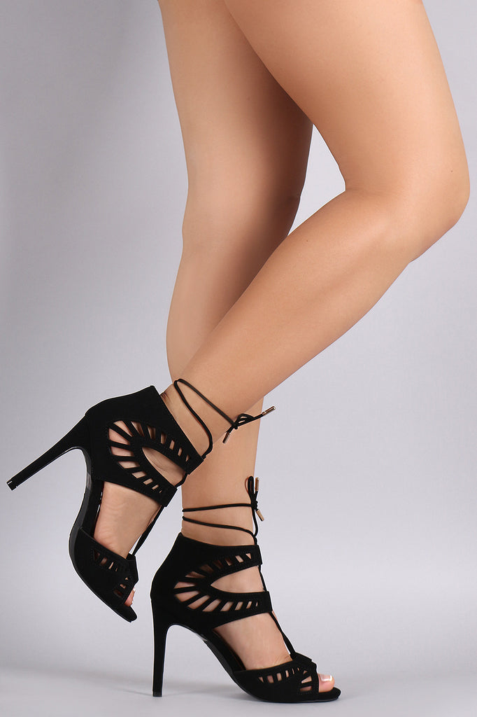 Anne Michelle Perforated Lace Up Stiletto Heel
