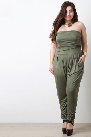 Strapless Ruched Jumpsuit